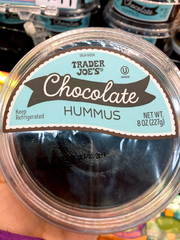 <p>Trader Joe's has tons of regular hummus flavors, which are savory, as you'd expect. But this Chocolate Hummus takes the usual chickpea-tahini combo and adds cocoa powder and sugar for a sweet, dessert-like dip. I <em>had</em> to buy it! Also, the turquoise packaging matched my nails perfectly, so I took that as a sign - I almost bought two!</p>