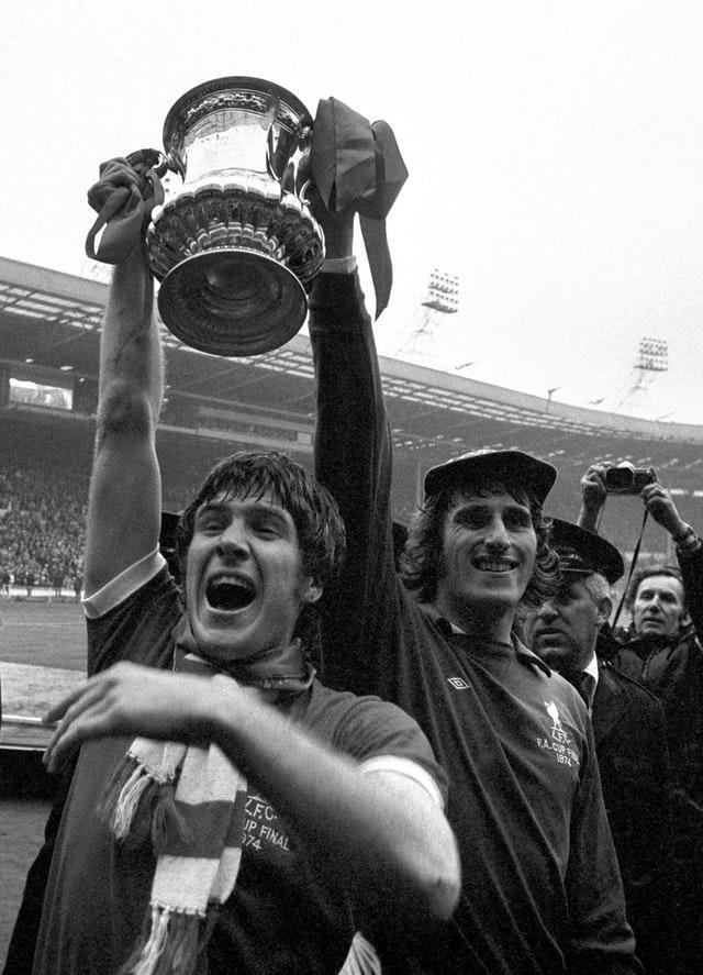 Liverpool captain Emlyn Hughes guided his side to victory in the 1974 FA Cup final over Newcastle