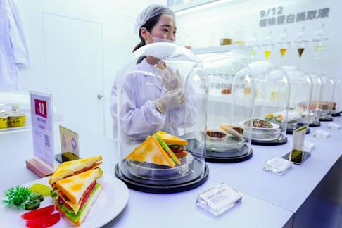 Omnipork, the plant-based meat substitute from Hong Kong-based start-up Green Monday, was featured at Alibaba Group Holding's Taobao Makers Festival, held in Hangzhou on September 11. Photo: Handout