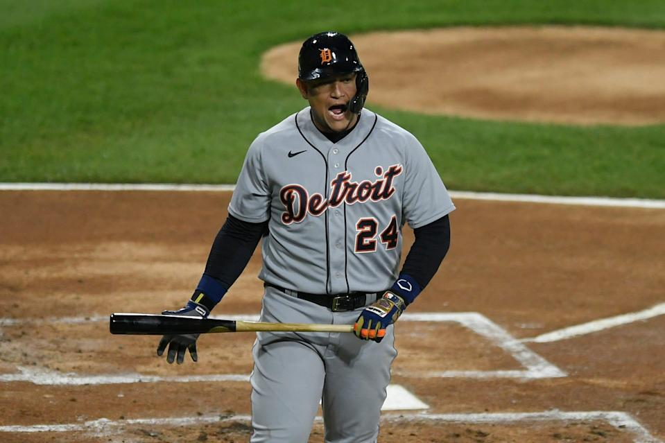 Detroit Tigers' Miguel Cabrera reacts after striking out during the first inning of Game 2 at Guaranteed Rate Field in Chicago on Thursday, April 29, 2021.