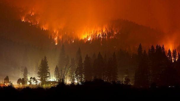 PHOTO: The Dixie Fire burns at night in Taylorsville, Calif., July 27, 2021. (David Swanson/Reuters)