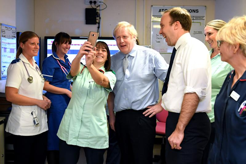 Prime Minister and health secretary Matt Hancock visit Bassetlaw Hospital (Photo: PA Wire/PA Images)