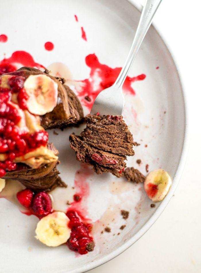 "<p>Another recipe perfect for the vegans amongst you, or those opting for a more plant-based diet. Plus, there's a list of different toppings options—almond butter, banana, the list goes on—which will inspire you (and make you drool).</p><p><br>Try the recipe yourself: <a class=""link rapid-noclick-resp"" href=""https://runningonrealfood.com/thick-vegan-chocolate-protein-pancakes/"" rel=""nofollow noopener"" target=""_blank"" data-ylk=""slk:runningonrealfood.com"">runningonrealfood.com </a></p>"
