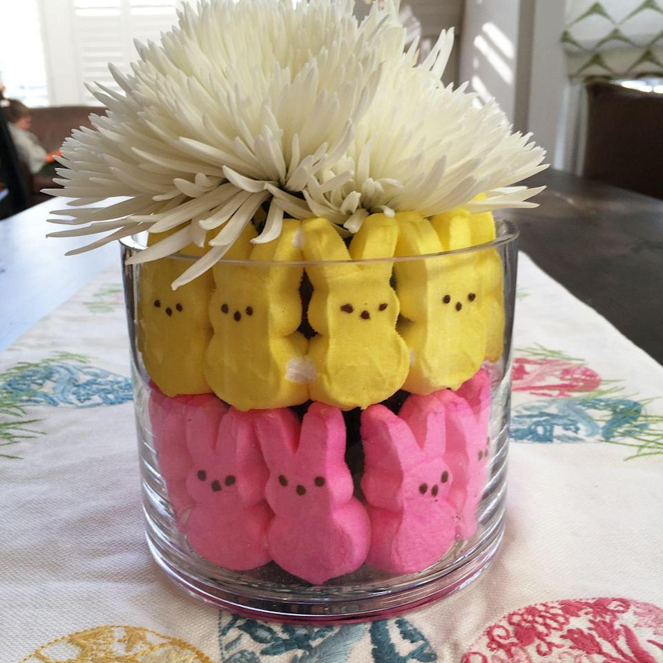 """<p>Got some extra Peeps lying around? Maybe even from last Easter? Stuff these treats into a vase to brighten up your flowers. </p><p><a class=""""link rapid-noclick-resp"""" href=""""https://www.amazon.com/Marshmallow-Peeps-Easter-Bunnies-Variety/dp/B00BGU8VFY/ref=sr_1_12?dchild=1&keywords=PEEPS&qid=1611939883&sr=8-12&tag=syn-yahoo-20&ascsubtag=%5Bartid%7C10070.g.1751%5Bsrc%7Cyahoo-us"""" rel=""""nofollow noopener"""" target=""""_blank"""" data-ylk=""""slk:SHOP PEEPS"""">SHOP PEEPS</a></p>"""