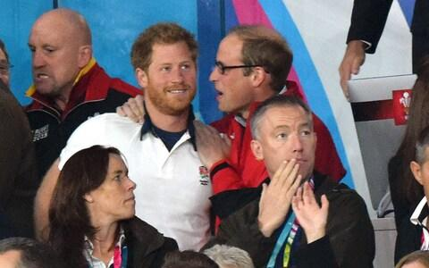 Prince Harry and Prince William, Duke of Cambridge attend the England v Wales match during the Rugby World Cup 2015 - Credit: Karwai Tang/WireImage