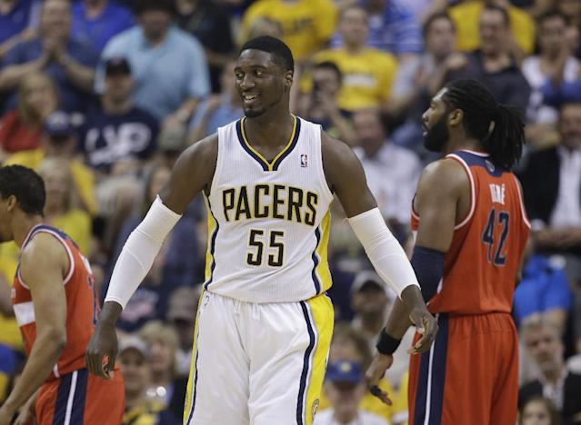 Indiana Pacers' Roy Hibbert in action during the first half of game 2 of the Eastern Conference semifinal NBA basketball playoff series against the Washington Wizards Wednesday, May 7, 2014, in Indianapolis. (AP Photo/Darron Cummings)