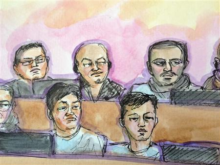 """Raymond """"Shrimp Boy"""" Chow (C, back row) appears in this courtroom sketch before U.S. Magistrate Judge Nathanael Cousins in San Francisco March 26, 2014. REUTERS/Vicki Behringer"""