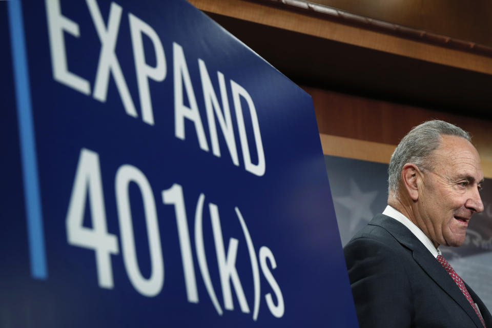Senate Minority Leader Sen. Chuck Schumer of N.Y., attends a news conference on 401(k) retirement savings, Tuesday, Oct. 31, 2017, on Capitol Hill in Washington. (AP Photo/Jacquelyn Martin)