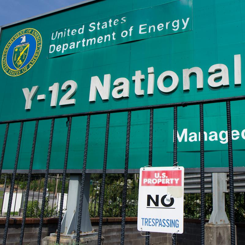 FILE - In this Aug. 17, 2012 file photo, signs warn against trespassing onto the  Y-12 National Security Complex in Oak Ridge, Tenn., on Friday, Aug. 17, 2012. Jury selection is getting underway for an octogenarian nun and two co-defendants accused of intruding into a national security facility in Tennessee that has had a hand in making, maintaining or dismantling parts of every nuclear weapon in the country's arsenal. (AP Photo/Erik Schelzig, FIle)