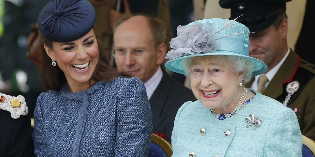 <p>Kate Middleton and her grandmother-in-law were all smiles as they watched a children's sporting event at Vernon Park in Nottingham, England. </p>