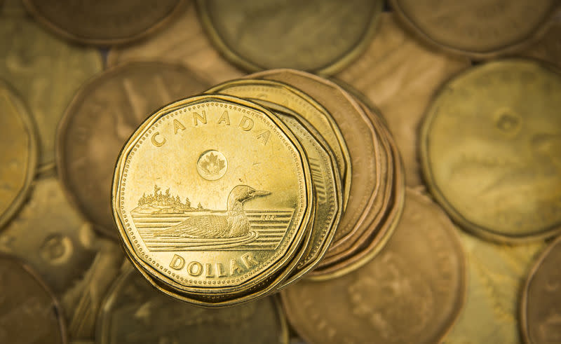 """FILE PHOTO - A Canadian dollar coin, commonly known as the """"Loonie"""", is pictured in this illustration picture taken in Toronto"""