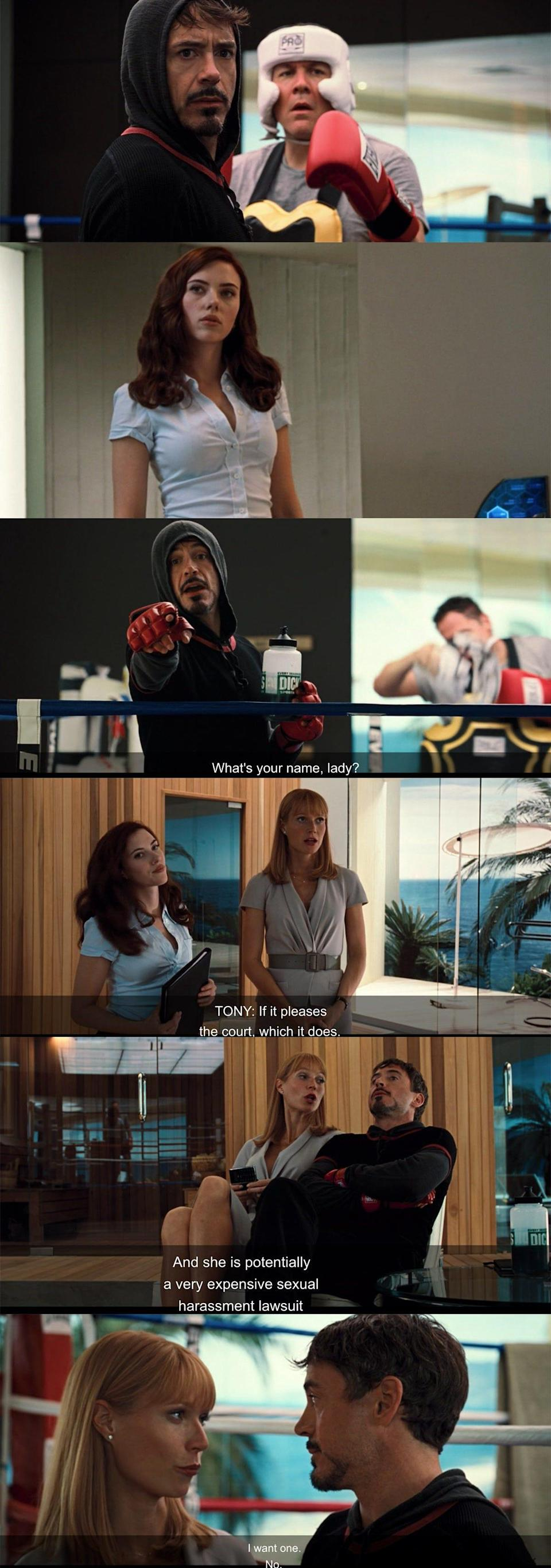 Nat's first appearance in Iron Man 2.