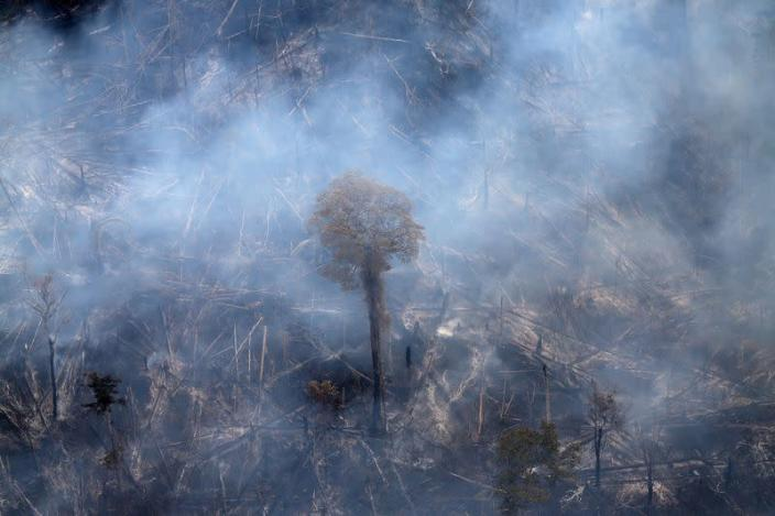 FILE PHOTO: An aerial view shows a tract of Amazon jungle burning as it is cleared by farmers in Itaituba