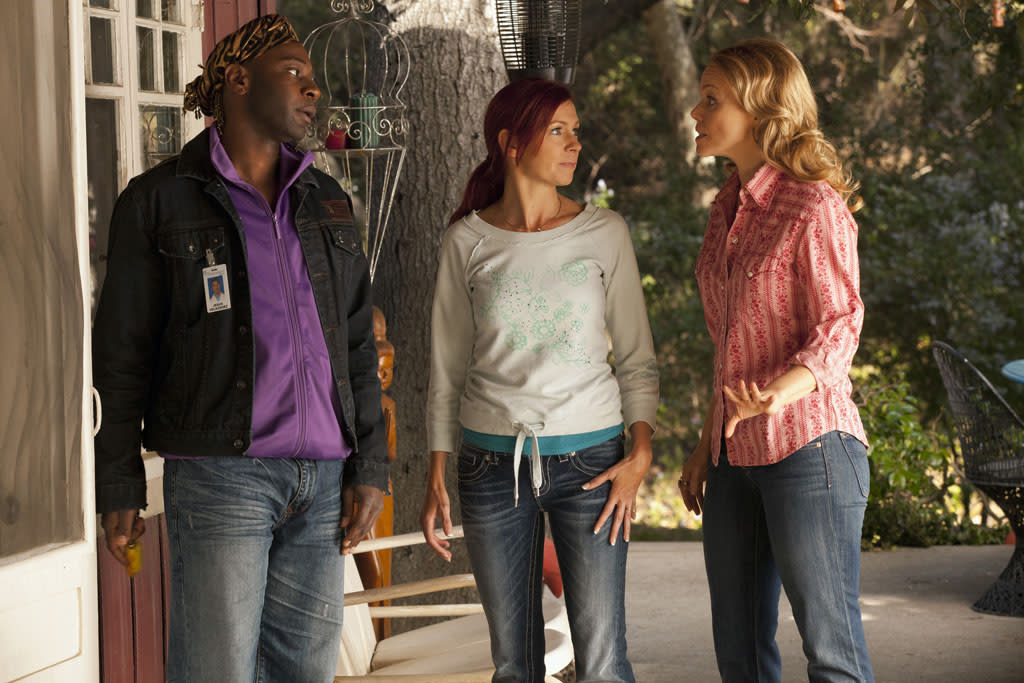 "Nelsan Ellis, Carrie Preston and Lauren Bowles in the ""True Blood"" episode, ""In the Beginning."""