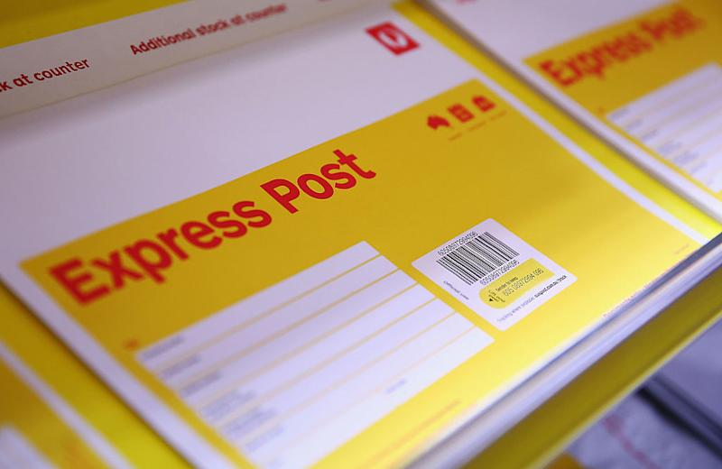 Pictured: Australia Post express post parcel. Image: Getty