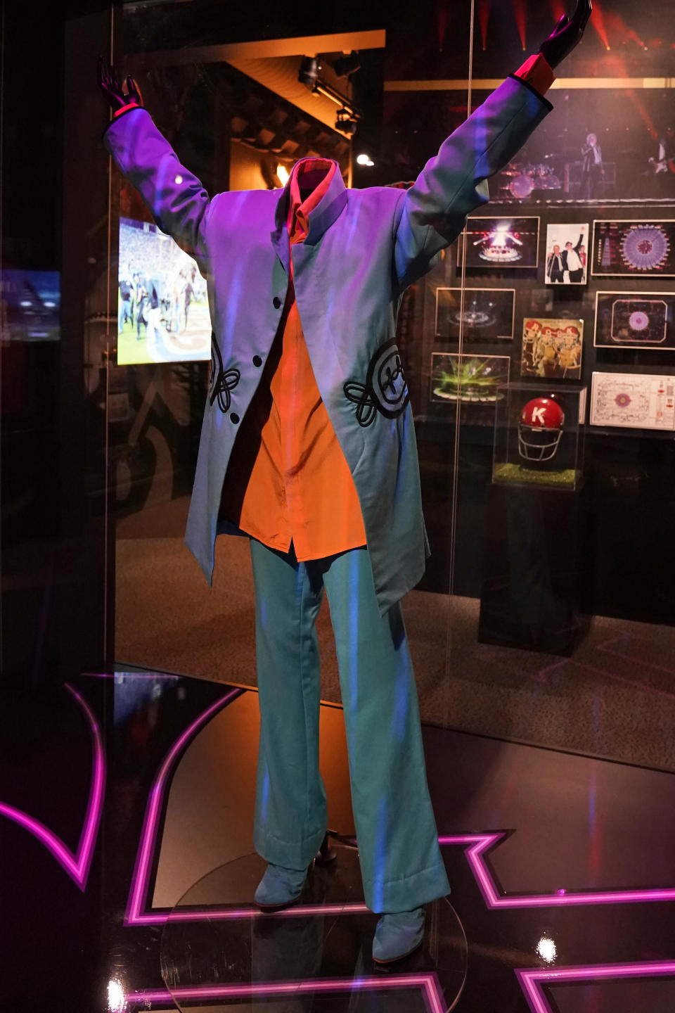 Prince's 2007 half-time outfit he wore in Super Bowl's XLI in Miami, Fla. is on display Thursday, April 29, 2021 at the Rock and Roll Hall of Fame in Cleveland. Rock Hall's NFL Halftime Show Exhibit with 55 Years Of NFL Halftime Shows, runs from April to September. (AP Photo/Tony Dejak)