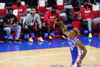 Philadelphia 76ers' Dwight Howard reacts after making a basket during the second half of Game 2 in a second-round NBA basketball playoff series against the Atlanta Hawks, Tuesday, June 8, 2021, in Philadelphia. (AP Photo/Matt Slocum)