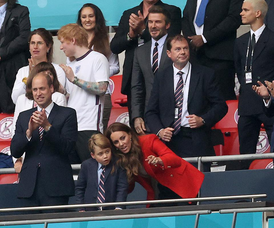 Kate Middleton, Prince William and Prince George at football game