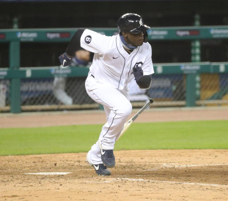 Tigers center fielder Daz Cameron hits a triple in the ninth inning of the Tigers' 1-0 loss to the Indians at Comerica Park on Friday, Sept. 18, 2020.