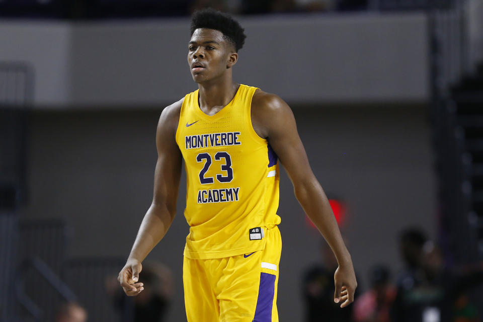 Day'ron Sharpe #23 of Montverde Academy looks on during the City of Palms Classic at Suncoast Credit Union Arena on Dec. 19, 2019 in Fort Myers, Florida. (Michael Reaves/Getty Images)