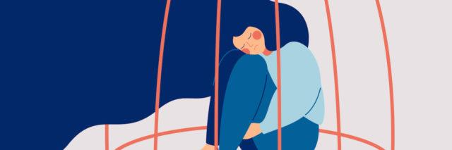 An illustration of a woman with long blue hair locked in a cage. She's sitting with her hands around her legs