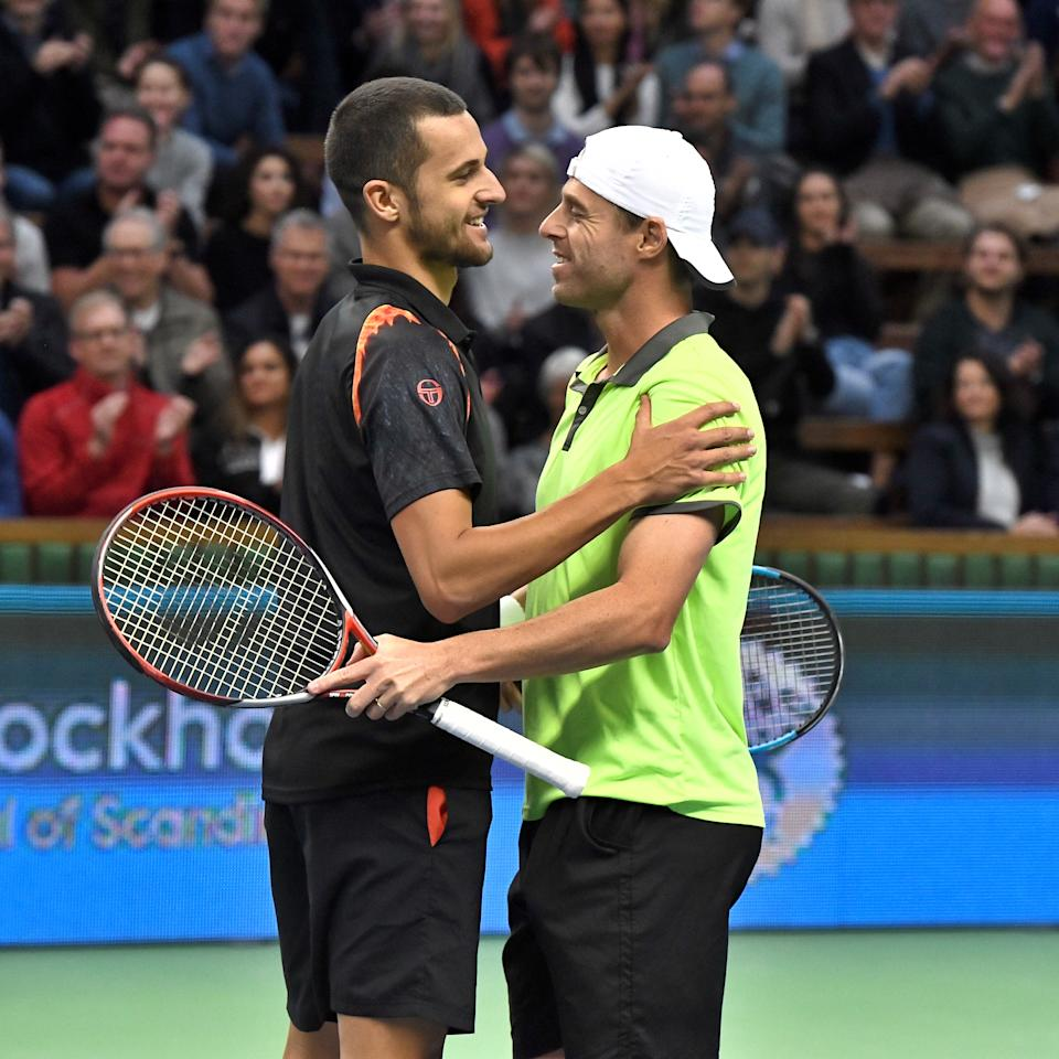 Tennis - Stockholm Open - Men Doubles Final - Royal Tennis Hall, Stockholm, Sweden - October 22, 2017. Mate Pavic of Croatia and Oliver Marach of Austria celebrate after defeating Aisam Ul Haq Qureshi of Pakistan and Jean Julien Rojer of the Netherlands . TT News Agency/Claudio Bresciani/via REUTERS   ATTENTION EDITORS - THIS IMAGE WAS PROVIDED BY A THIRD PARTY. SWEDEN OUT. NO COMMERCIAL OR EDITORIAL SALES IN SWEDEN.