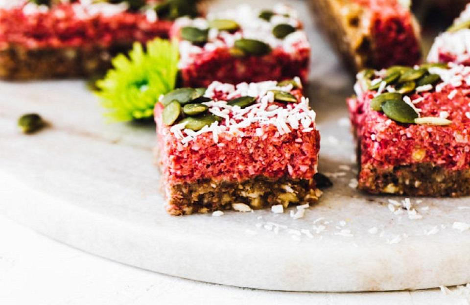 """<p>These no-bake vegan superfood bars are made with top-notch ingredients like coconut, cashews, chia seeds and more. The dessert's components are mixed together and then frozen for two hours. These bars will <a href=""""https://www.thedailymeal.com/eat/time-food-lasts?referrer=yahoo&category=beauty_food&include_utm=1&utm_medium=referral&utm_source=yahoo&utm_campaign=feed"""" rel=""""nofollow noopener"""" target=""""_blank"""" data-ylk=""""slk:last in the freezer"""" class=""""link rapid-noclick-resp"""">last in the freezer</a> for one month and in the refrigerator for up to five days.</p> <p><a href=""""https://www.thedailymeal.com/best-recipes/vegan-cherry-superfood-bars?referrer=yahoo&category=beauty_food&include_utm=1&utm_medium=referral&utm_source=yahoo&utm_campaign=feed"""" rel=""""nofollow noopener"""" target=""""_blank"""" data-ylk=""""slk:For the Tart Cherry Vegan Superfood Bars recipe, click here."""" class=""""link rapid-noclick-resp"""">For the Tart Cherry Vegan Superfood Bars recipe, click here.</a></p>"""