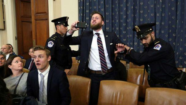 PHOTO: A supporter of President Donald Trump screams criticism at House Judiciary Committee Chairman Rep. Jerrold Nadler at the start of a House Judiciary Committee hearing to receive counsel presentations of evidence on the impeachment inquiry. (Jonathan Ernst/Reuters)
