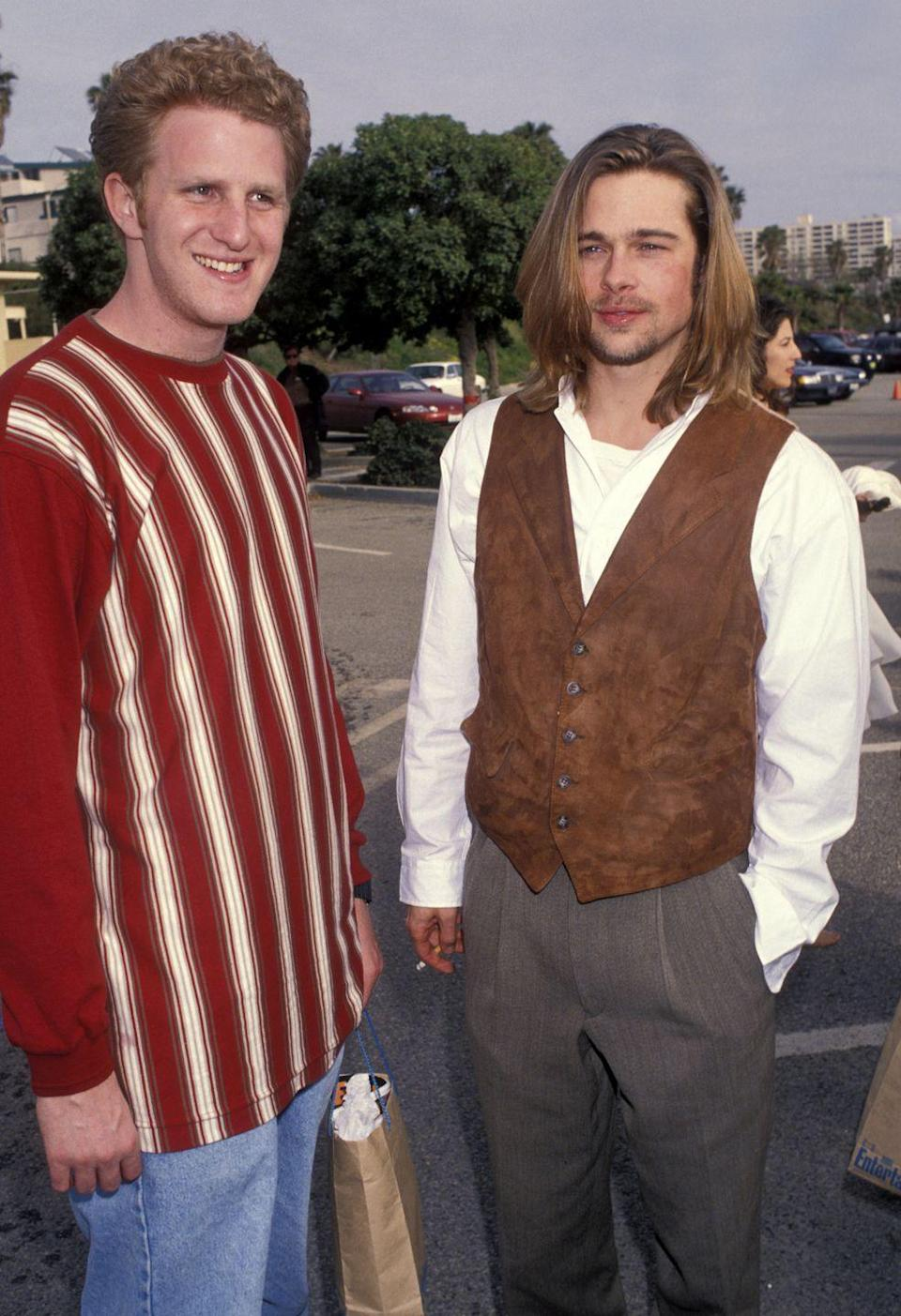 <p>Michael Rapaport poses with Pitt at the Independent Spirit Awards. The comedian and Pitt were part of the ensemble cast for Quentin Tarantino and Tony Scott's 1993 hit<em> True Romance</em>.</p>