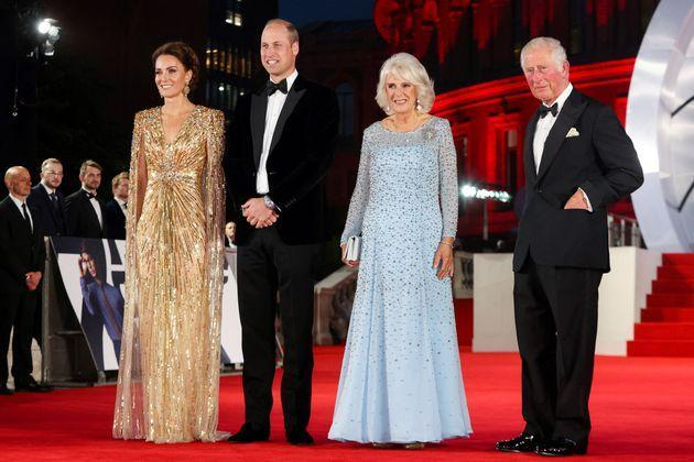 Members of the royal family pose together at the premiere. (Photo: CHRIS JACKSON via Getty Images)