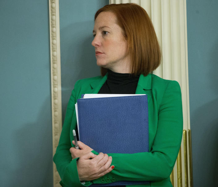 FILE - In this Feb. 27, 2015, file photo State Department spokeswoman Jen Psaki listens during a meeting between Secretary of State John Kerry and Liberian President Ellen Johnson at the State Department in Washington. (AP Photo/Pablo Martinez Monsivais, File)