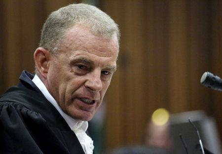 FILE PHOTO - State prosecuter Gerrie Nel addresses the court during Oscar Pistorius' bail hearing at the North Gauteng High Court in Pretoria, South Africa, December 8, 2015. REUTERS/Siphiwe Sibeko/File Photo