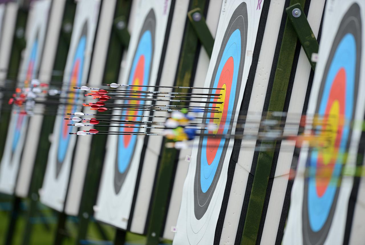 LONDON, ENGLAND - JULY 27:  Arrows in a target during the Archery Ranking Round on the Opening Day of the London 2012 Olympic Games at Lord's Cricket Ground on July 27, 2012 in London, England.  (Photo by Julia Vynokurova/Getty Images)