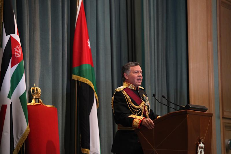 """King Abdullah II of Jordan gives a speech during the opening session of parliament in Amman, Jordan, Sunday, Nov. 3, 2013. Addressing parliament's opening session Sunday, Abdullah says his """"white revolution"""" is part of home-grown reforms he initiated weeks before the outset of the Arab Spring that saw four of his peers deposed in revolutions.(AP Photo/Mohammad Hannon)"""