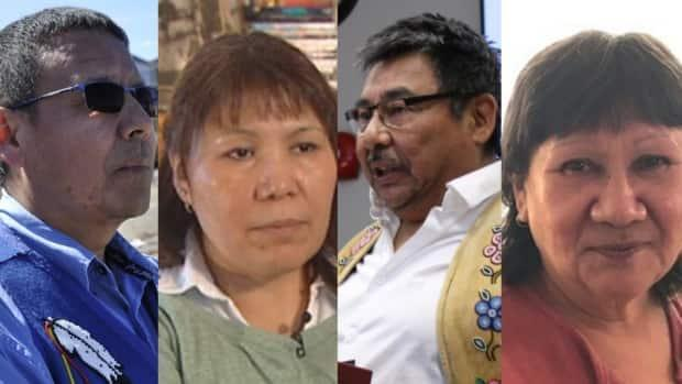 Ernest Betsina, Shirley Tsetta, Fred Sangris and Cecilie Beaulieu are vying to become the next Yellowknives Dene First Nation chief for Ndilo. (CBC News - image credit)