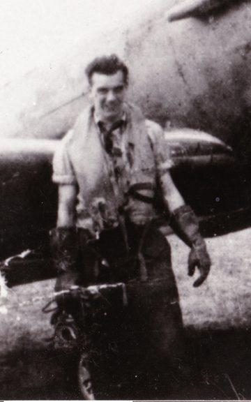 """Warrant Officer James """"Jimmy"""" Jeffrey, who was shot down in NH341 in 1944, but survived and evaded capture with help from the French"""