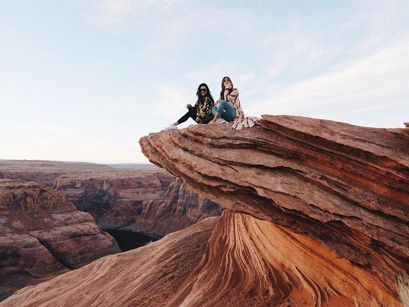 Shay Mitchell (left) took in the Utah canyon view, March 2018.