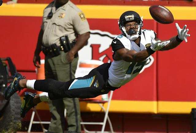 <p>Jacksonville Jaguars wide receiver Allen Robinson (15) leaps for but cannot catch the ball during the first half of an NFL football game against the Kansas City Chiefs in Kansas City, Mo., Sunday, Nov. 6, 2016. (AP Photo/Ed Zurga) </p>