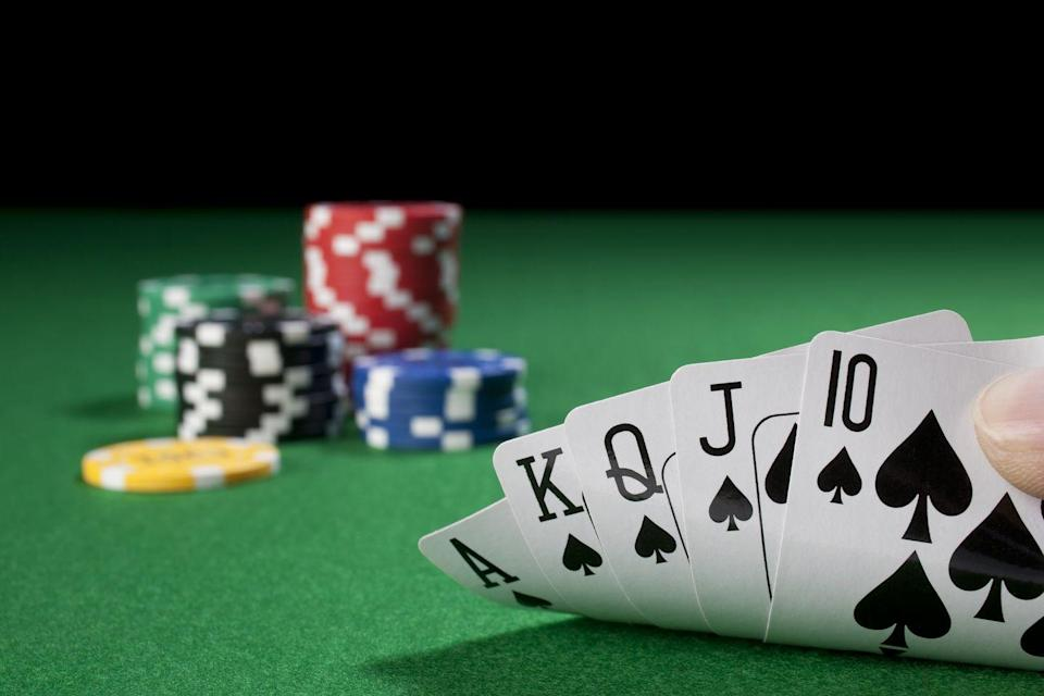 <p>Poker fiends have a slightly better chance of laying down a straight flush: Try 72,192 to 1. Out of the 7,462 distinct five-card poker hands, you have a 42% chance of getting a single pair though.</p>