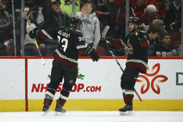 Arizona Coyotes defenseman Alex Goligoski (33) celebrates his goal against the New Jersey Devils with Coyotes right wing Vinnie Hinostroza, right, during the first period of an NHL hockey game, Saturday, Dec. 14, 2019, in Glendale, Ariz. (AP Photo/Ross D. Franklin)