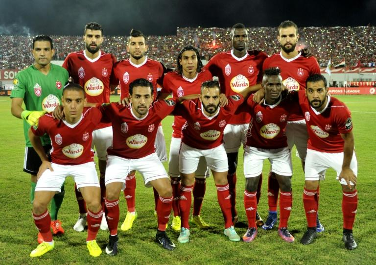 Tunisia's Etoile Sahel players pose for a photo prior to the start of their CAF Champions League semi-final 1st leg match against Al Ahly, at the Olympic Stadium in Sousse, on October 1, 2017