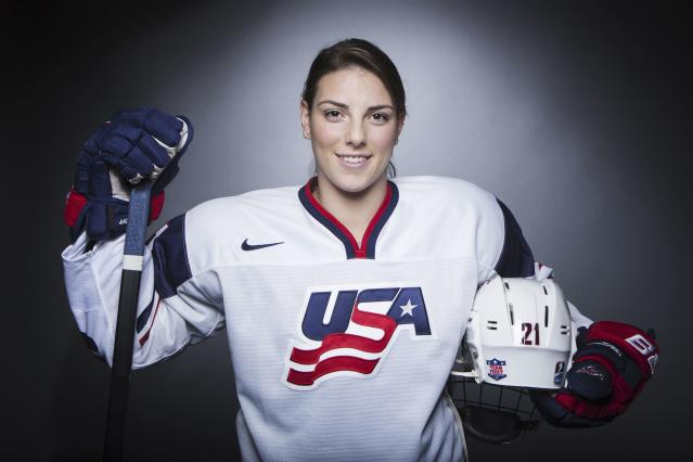 Olympic hockey player Hilary Knight poses for a portrait during the 2013 U.S. Olympic Team Media Summit in Park City, Utah October 2, 2013. REUTERS/Lucas Jackson (UNITED STATES - Tags: SPORT OLYMPICS PORTRAIT ICE HOCKEY)