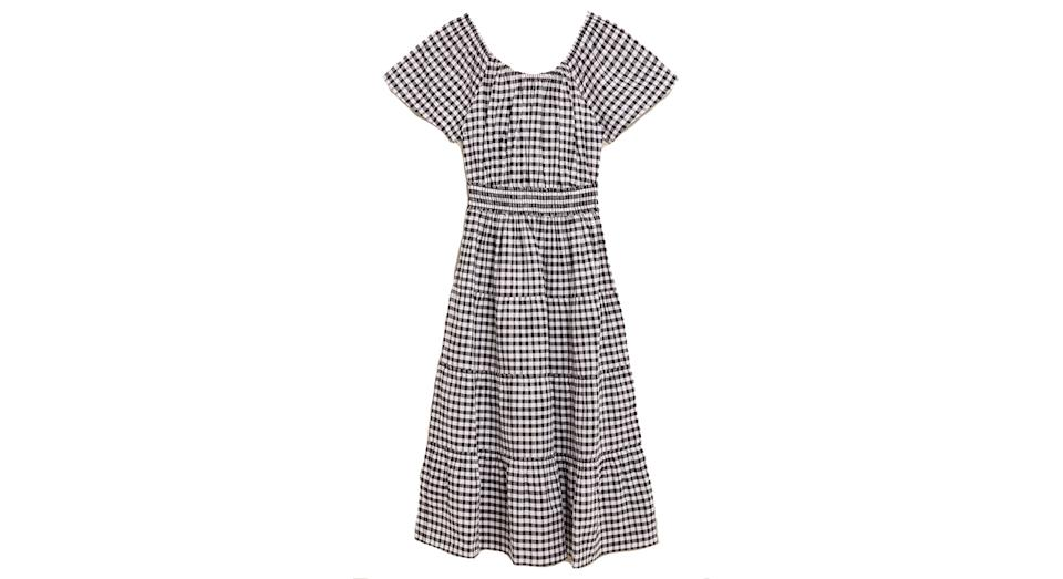Pure Cotton Checked Midi Waisted Dress