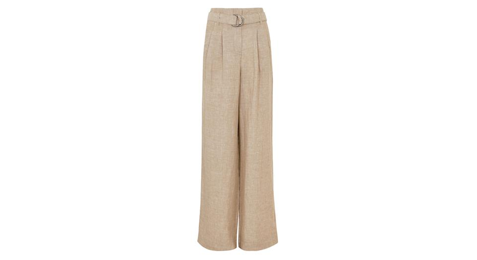Pure Linen Belted Wide Leg Trousers