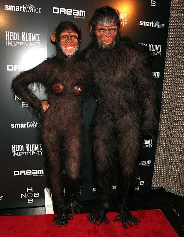 <p>No. 4: In 2011, Heidi held two shindigs — one in New York and another in Las Vegas — and didn't disappoint at either venue. She sported this one for the Big Apple bash, proving just how bananas she really is for Halloween. The star (pictured with Seal) went completely ape with this anatomically correct primate outfit. It took a grueling six hours to get ready for the event, but it was worth it — it's definitely one of her best. (Photo: Paul Zimmerman/WireImage) </p>