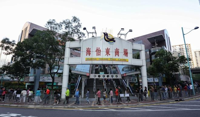 Early-rise voters queue up outside South Horizons polling station. Photo: May Tse