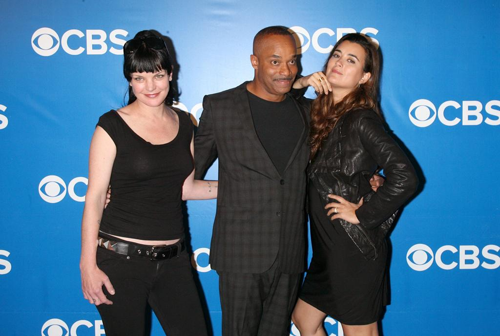 """Pauley Perrette, Rocky Carroll, and Cote de Pablo (""""NCIS"""") attend CBS's 2012 Upfront Presentation on May 16, 2012 in New York City."""