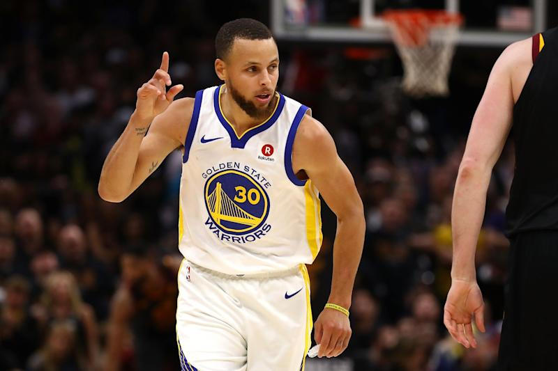 e1907196fcd4 Stephen Curry  30 of the Golden State Warriors reacts against the Cleveland  Cavaliers in the