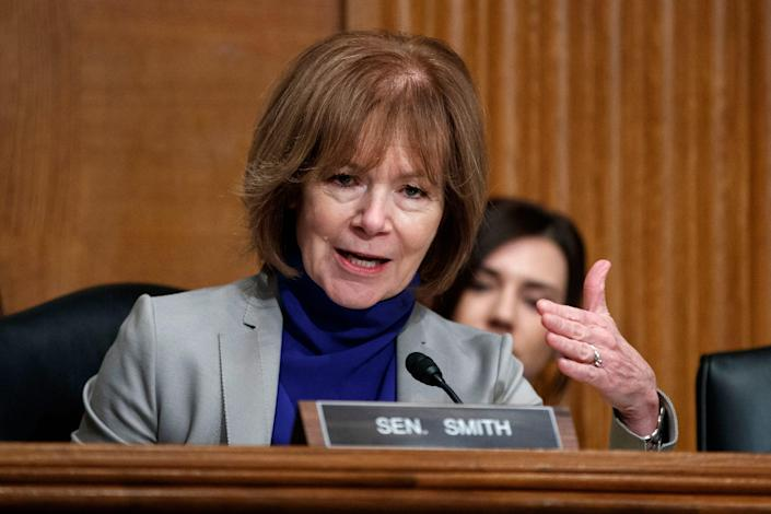 Sen. Tina Smith, D-Minn., speaks during a Senate Committee on Health, Education, Labor, and Pensions hearing on Capitol Hill in Washington.