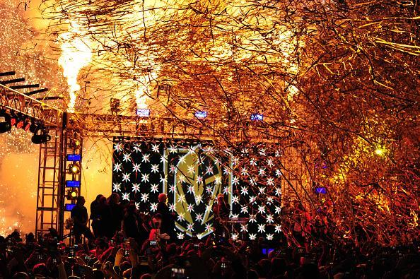 Pyrotechnics explode as the Vegas Golden Knights name and logo is revealed during the Las Vegas NHL team name Unveiling ceremony on November 22, 2016, at The Park at T-Mobile Arena in Las Vegas, NV. (Getty Images)